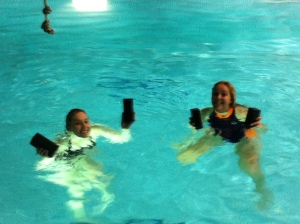 Treading water with bricks - we are very aware that our heads look photo-shopped on!