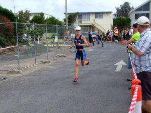 Kara in a triathalon